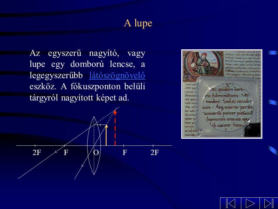 A lupe Az egyszerű nagyító, vagy lupe egy domború lencse, a legegyszerűbb látószögnövelő eszköz. A fókuszponton belüli tárgyról nagyított képet ad.