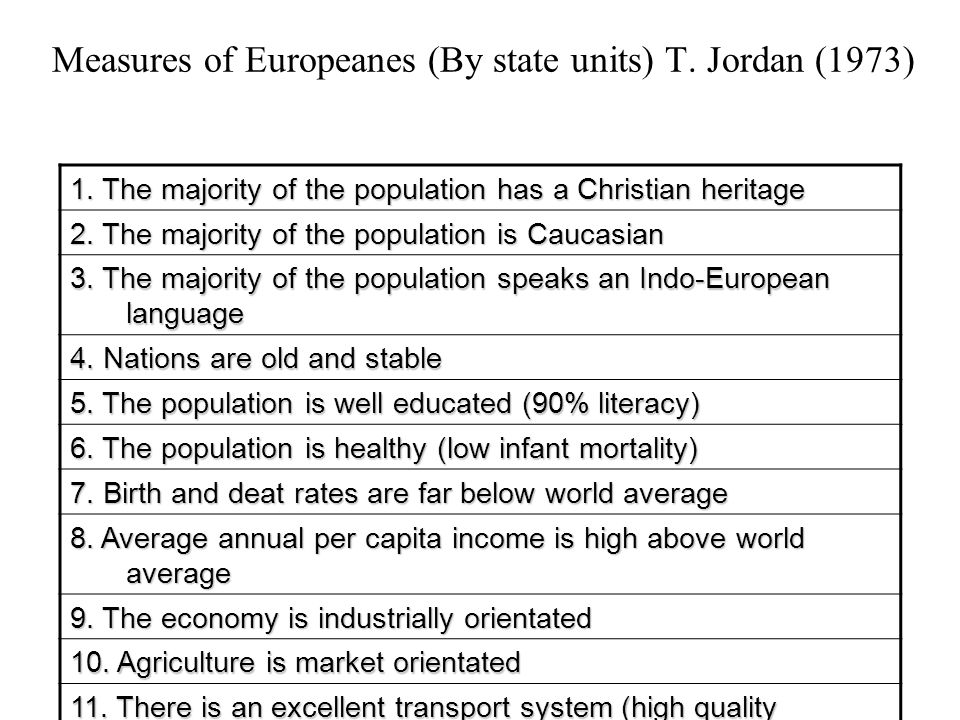 Measures of Europeanes (By state units) T. Jordan (1973)