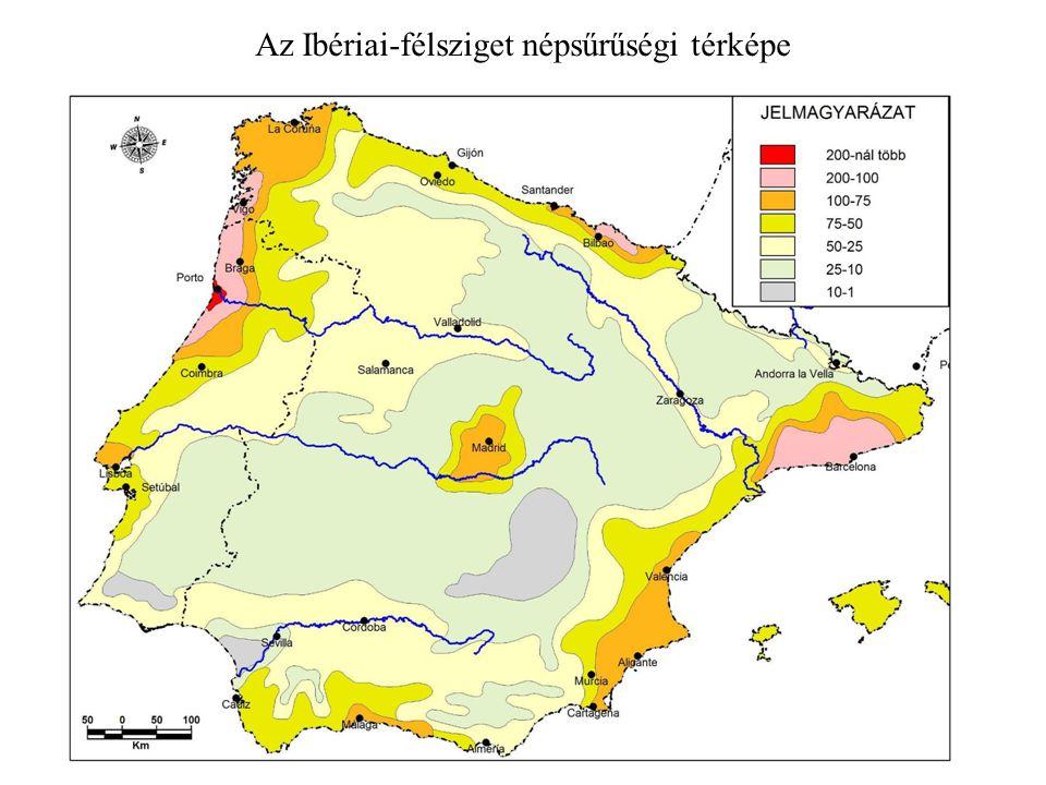 Az Ibériai-félsziget népsűrűségi térképe