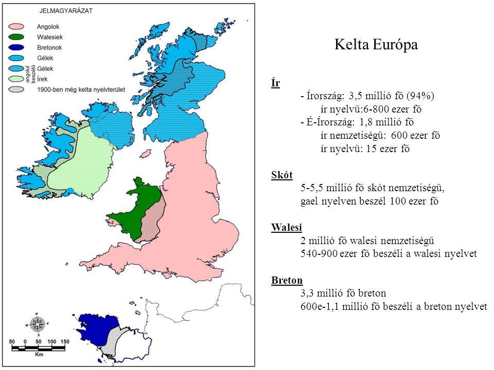 Kelta Európa Ír - Írország: 3,5 millió fő (94%) ír nyelvű:6-800 ezer fő - É-Írország: 1,8 millió fő.