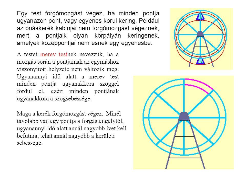 Egy test forgómozgást végez, ha minden pontja ugyanazon pont, vagy egyenes körül kering. Például az óriáskerék kabinjai nem forgómozgást végeznek, mert a pontjaik olyan körpályán keringenek, amelyek középpontjai nem esnek egy egyenesbe.
