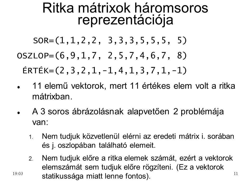Ritka mátrixok háromsoros reprezentációja
