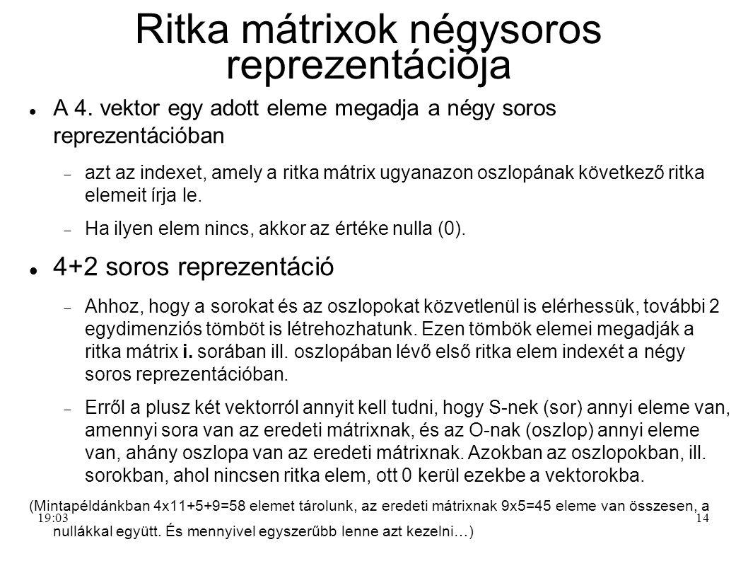 Ritka mátrixok négysoros reprezentációja