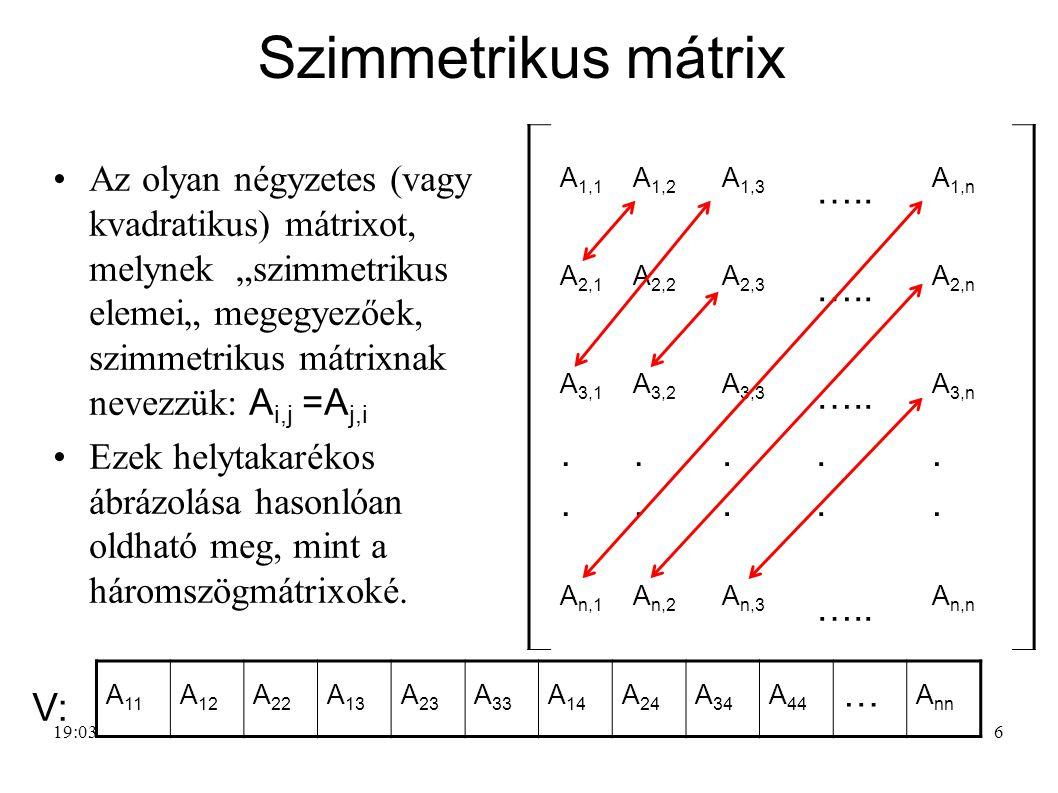 Szimmetrikus mátrix V: …..