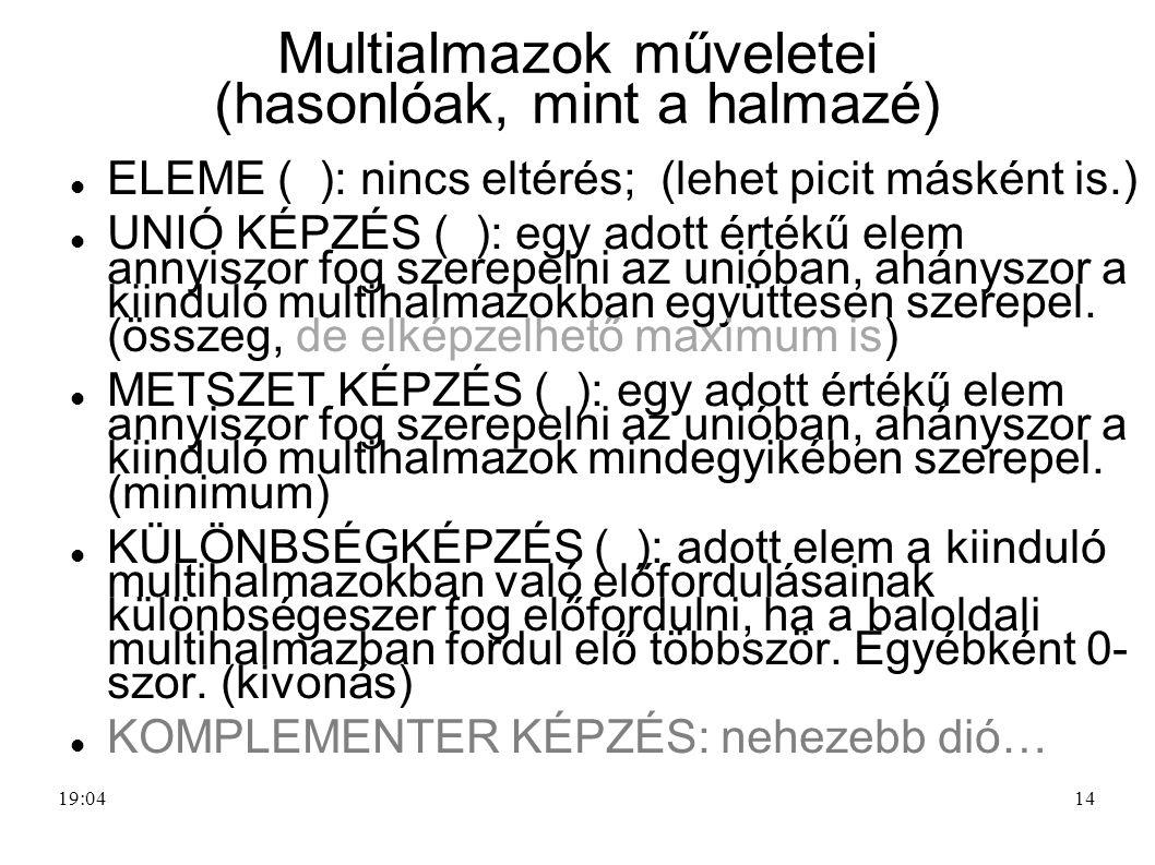 Multialmazok műveletei (hasonlóak, mint a halmazé)
