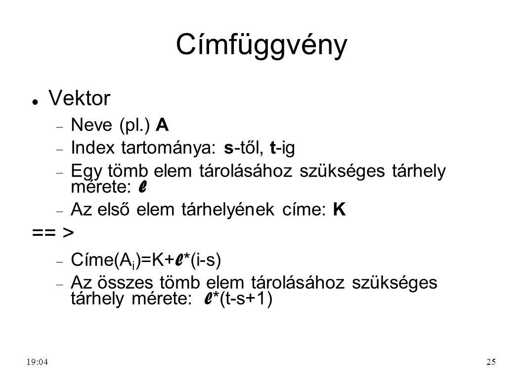 Címfüggvény Vektor == > Neve (pl.) A Index tartománya: s-től, t-ig