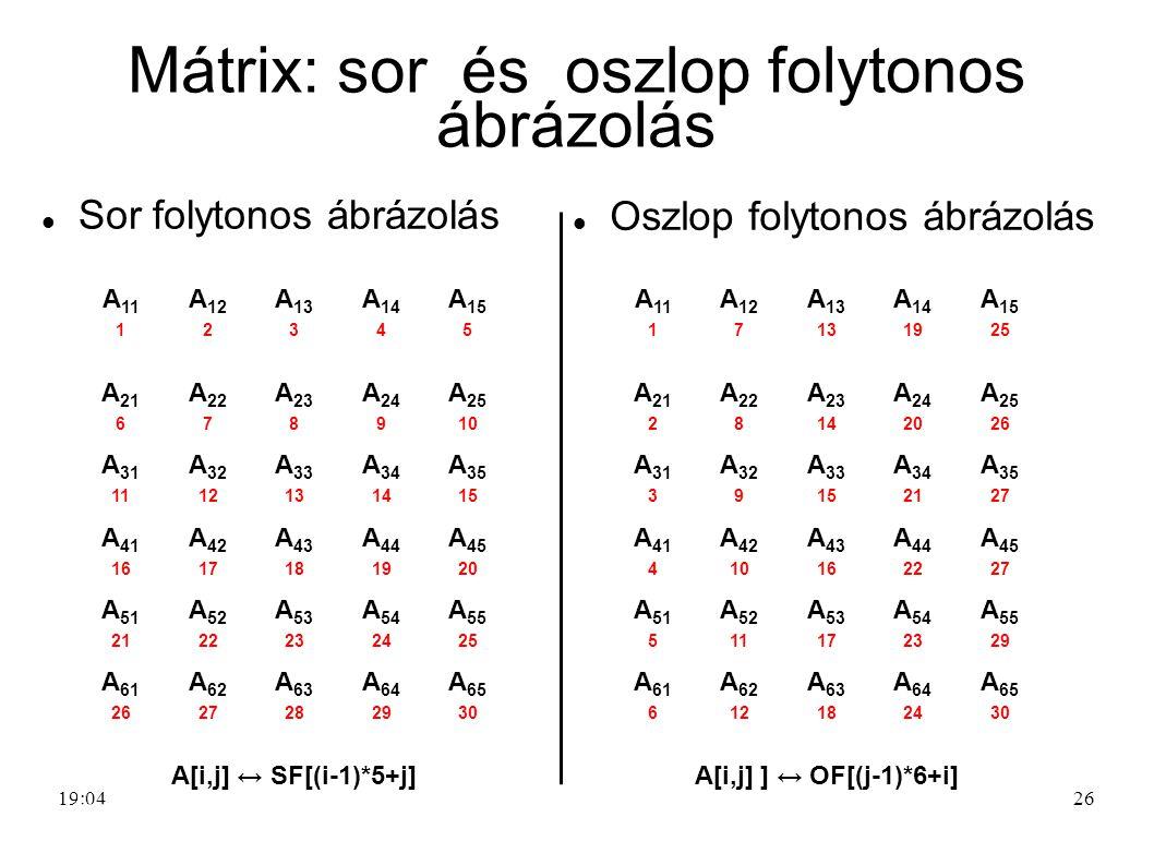 Mátrix: sor és oszlop folytonos ábrázolás
