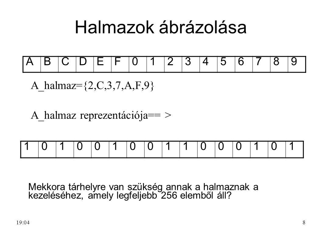 Halmazok ábrázolása A B C D E F 1 2 3 4 5 6 7 8 9