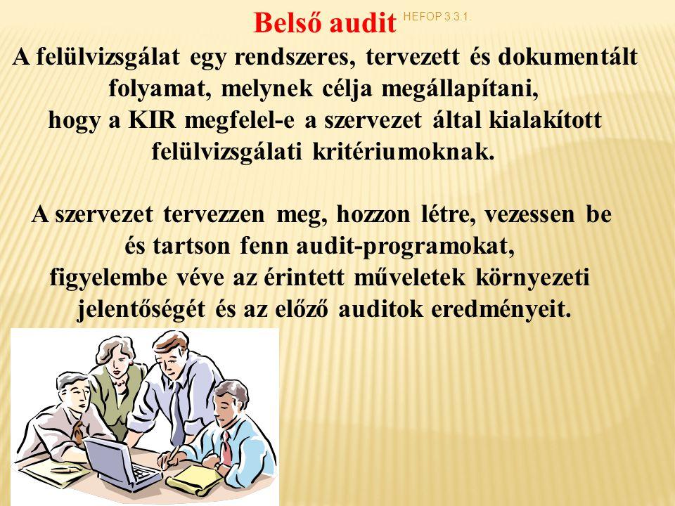 Belső audit A felülvizsgálat egy rendszeres, tervezett és dokumentált