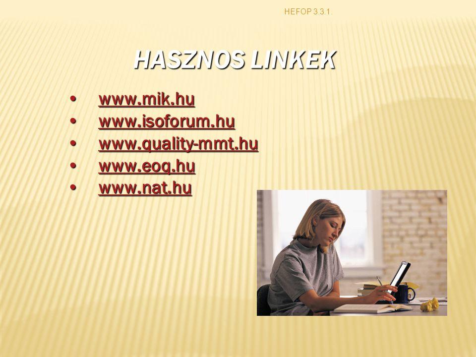 HASZNOS LINKEK www.mik.hu www.isoforum.hu www.quality-mmt.hu