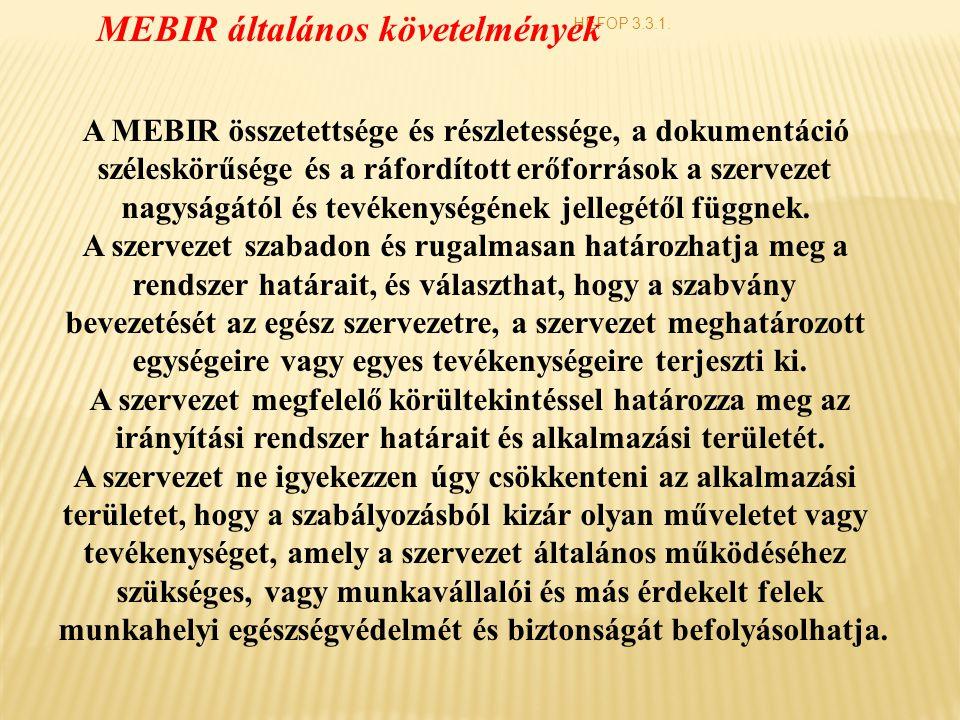MEBIR általános követelmények