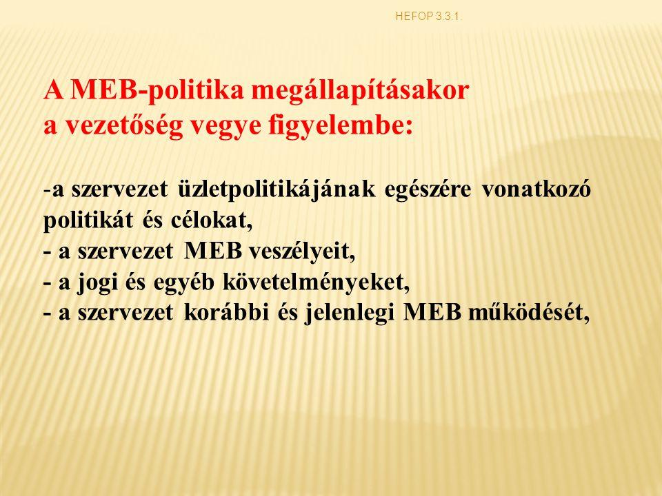 A MEB-politika megállapításakor a vezetőség vegye figyelembe:
