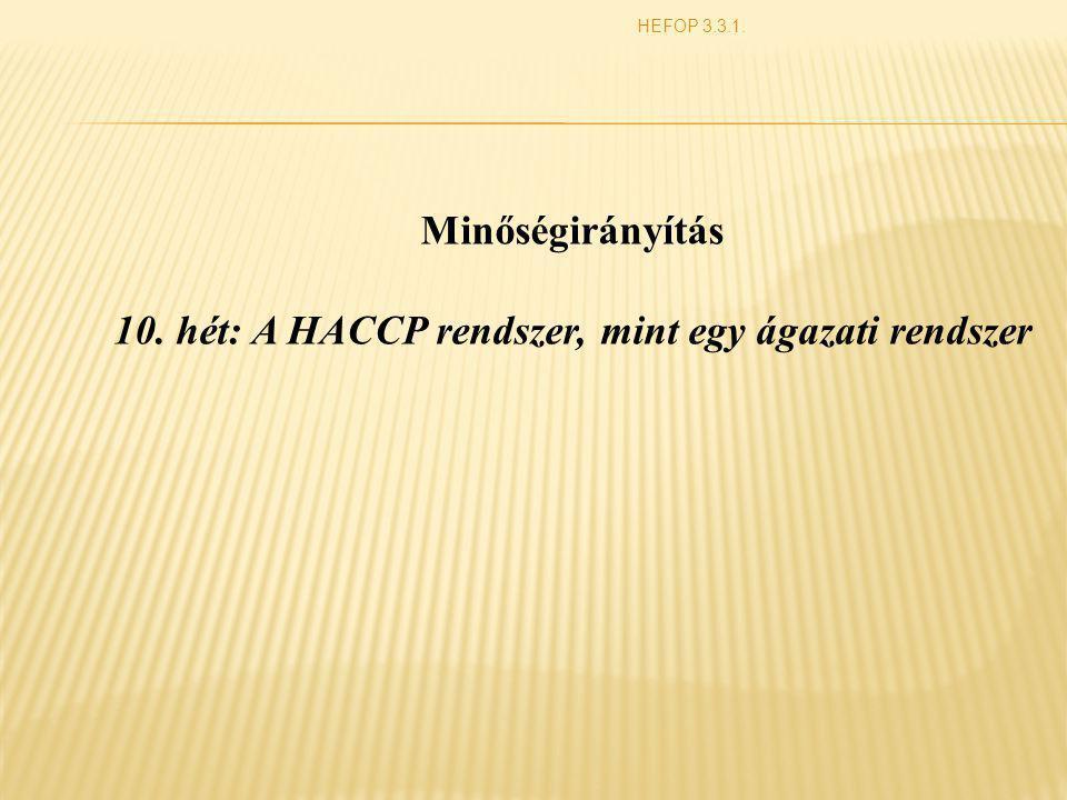 10. hét: A HACCP rendszer, mint egy ágazati rendszer