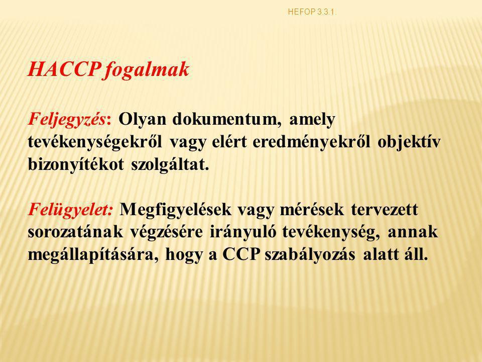 HACCP fogalmak Feljegyzés: Olyan dokumentum, amely