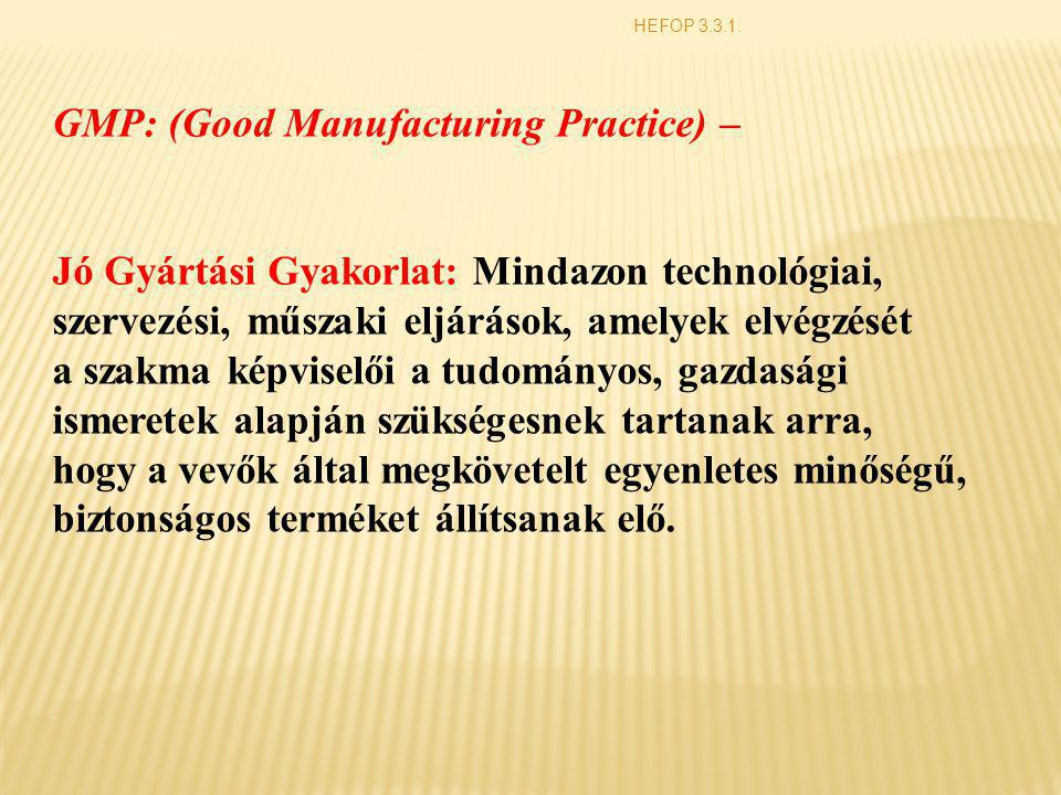 GMP: (Good Manufacturing Practice) –