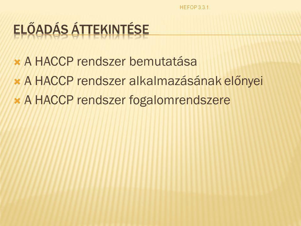 A HACCP rendszer bemutatása A HACCP rendszer alkalmazásának előnyei