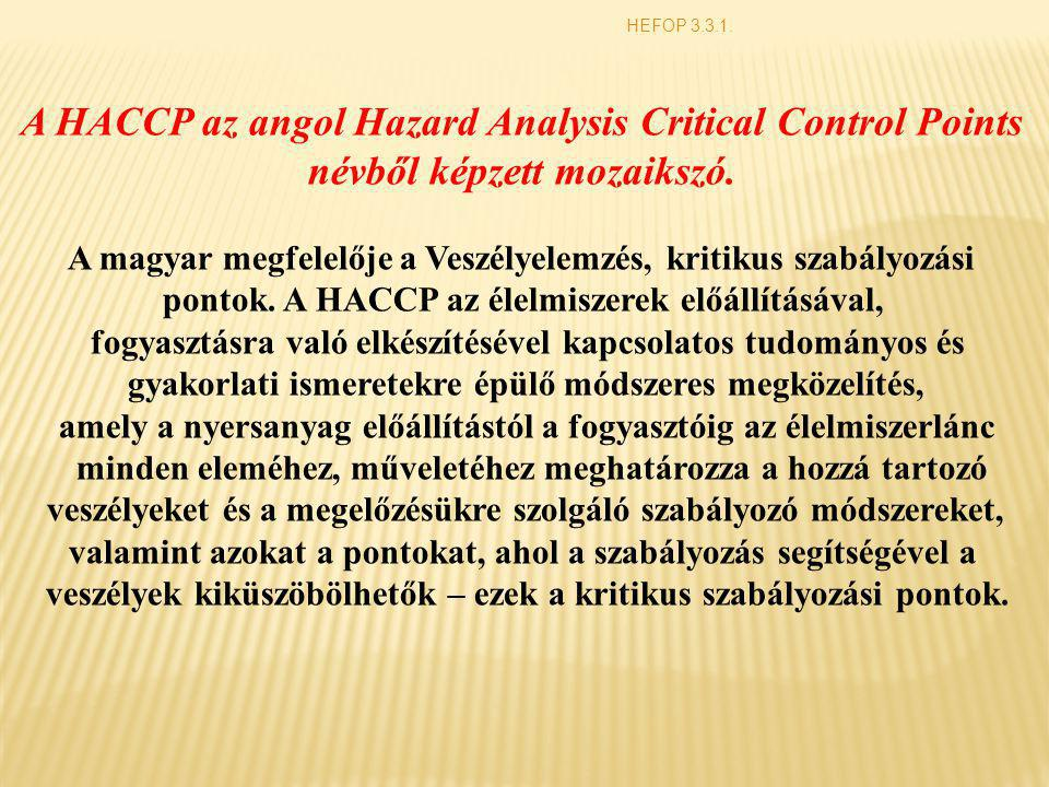 A HACCP az angol Hazard Analysis Critical Control Points