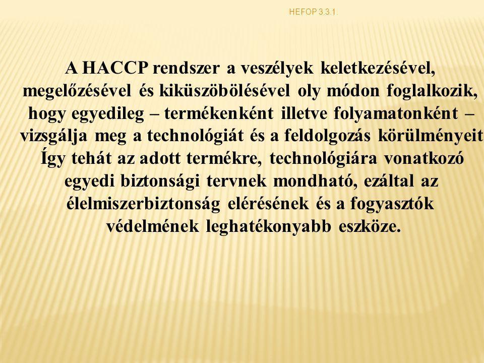 A HACCP rendszer a veszélyek keletkezésével,