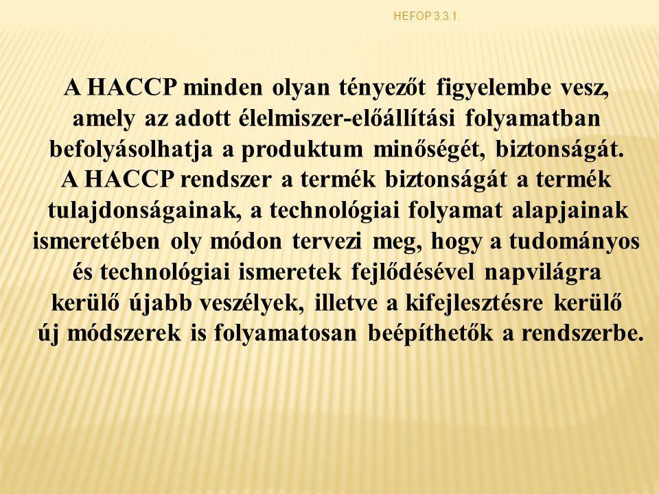 A HACCP minden olyan tényezőt figyelembe vesz,