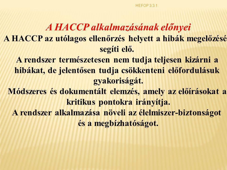 A HACCP alkalmazásának előnyei