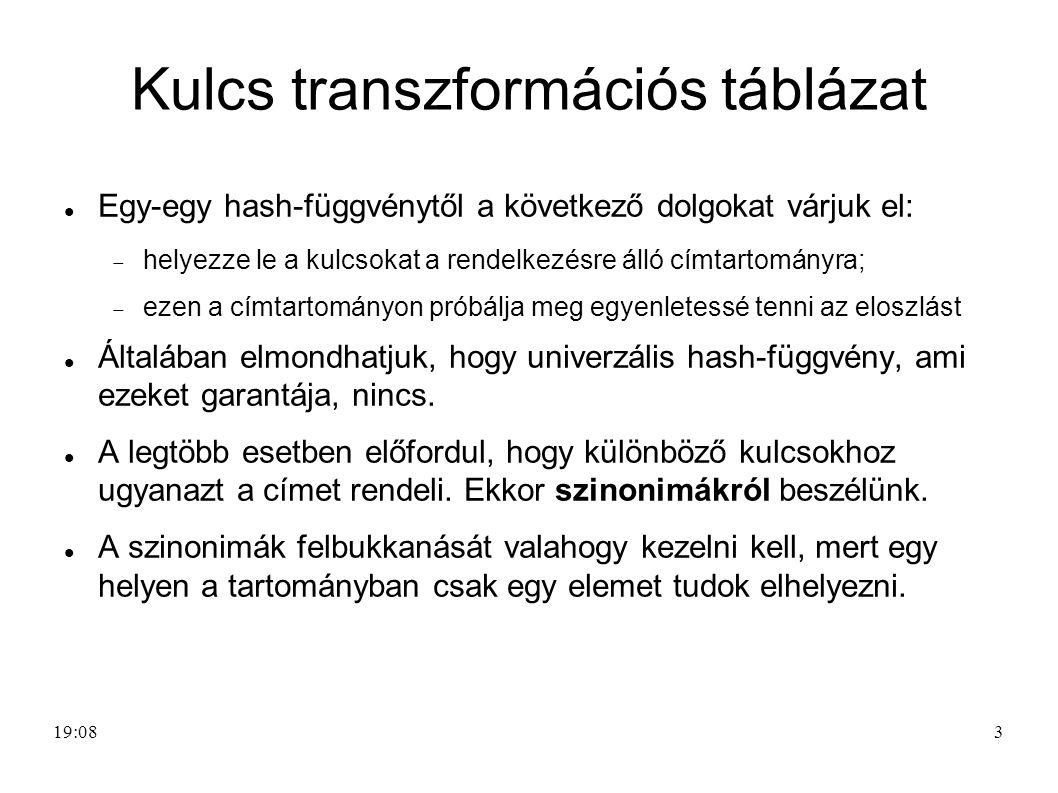 Kulcs transzformációs táblázat