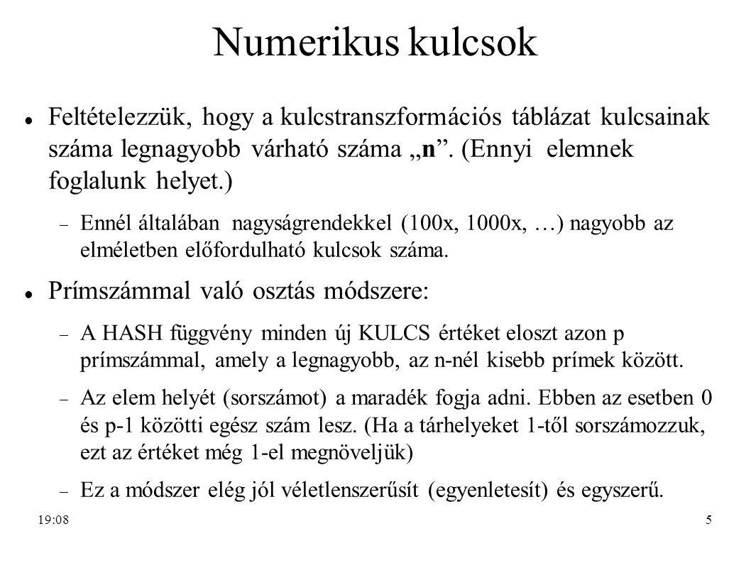 Numerikus kulcsok