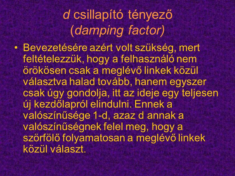 d csillapító tényező (damping factor)
