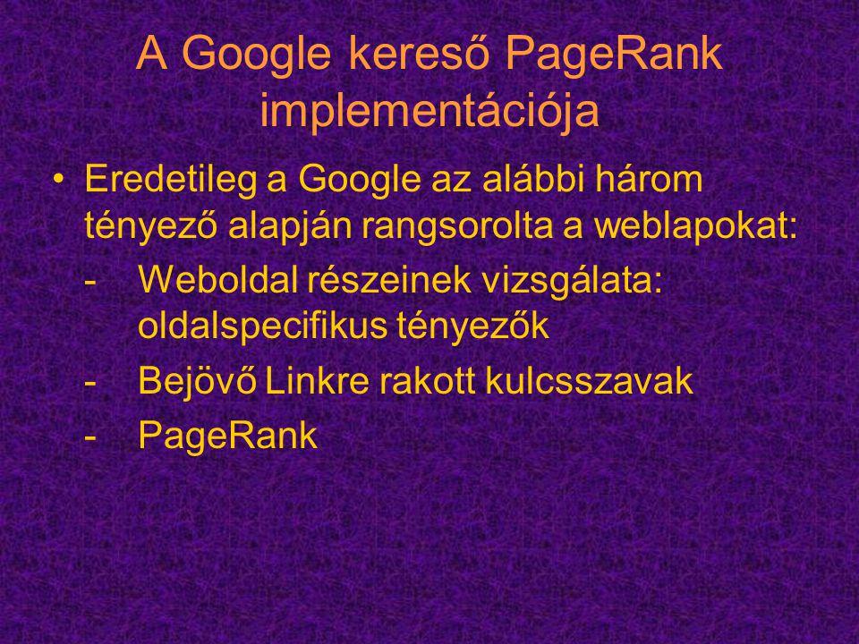 A Google kereső PageRank implementációja
