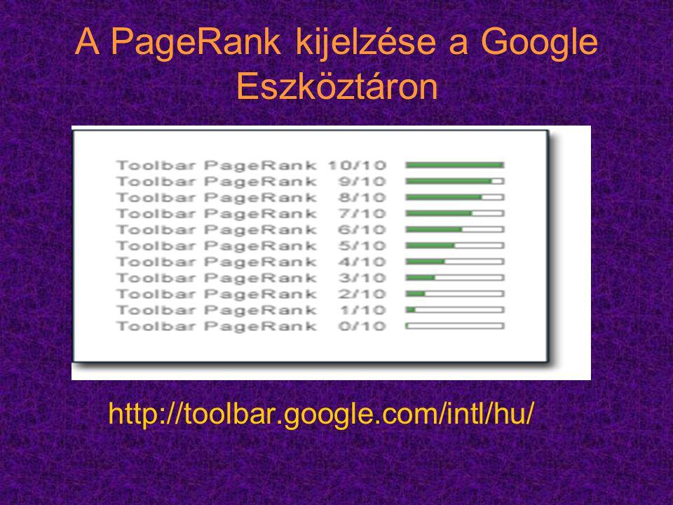 A PageRank kijelzése a Google Eszköztáron