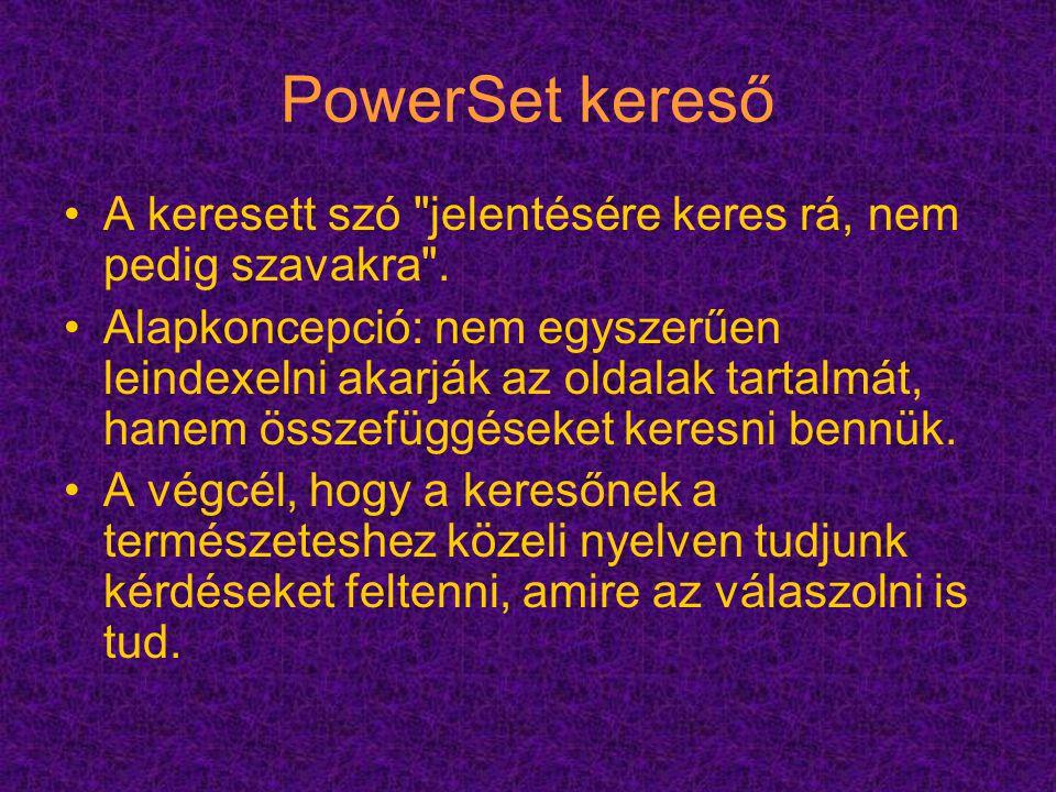 PowerSet kereső A keresett szó jelentésére keres rá, nem pedig szavakra .