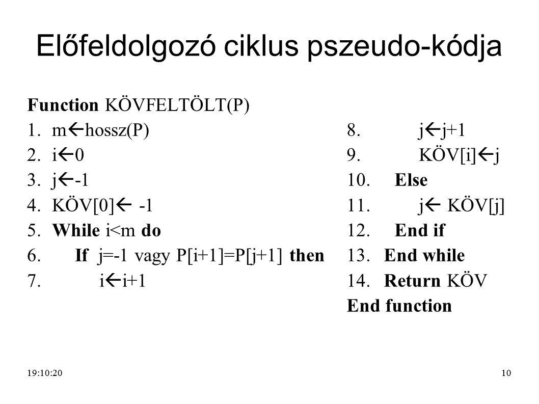 Előfeldolgozó ciklus pszeudo-kódja