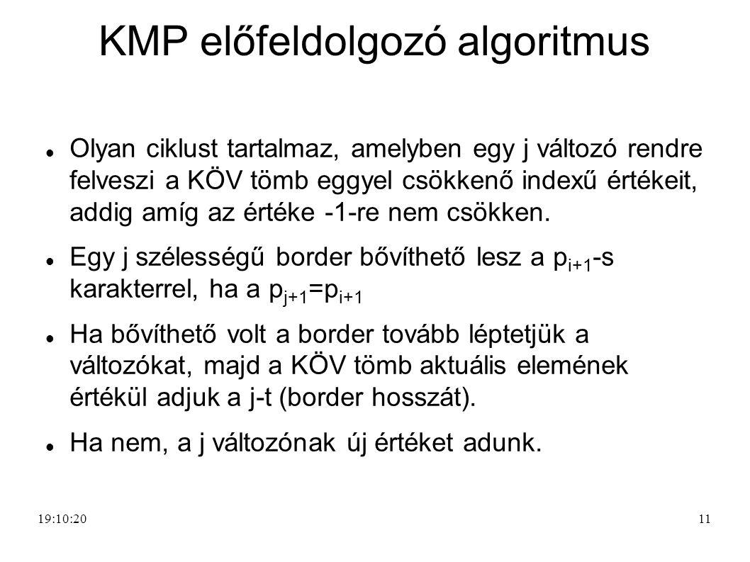 KMP előfeldolgozó algoritmus