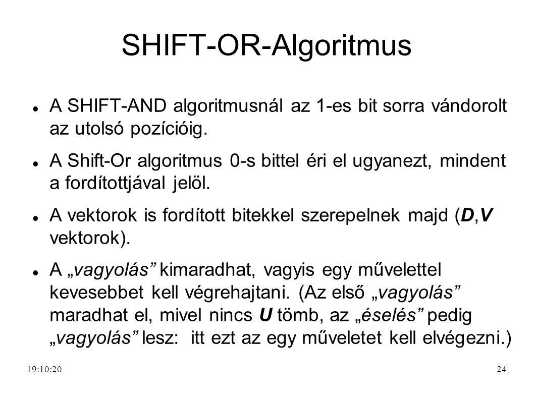 SHIFT-OR-Algoritmus A SHIFT-AND algoritmusnál az 1-es bit sorra vándorolt az utolsó pozícióig.