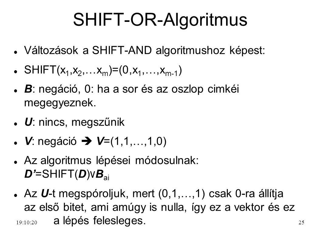 SHIFT-OR-Algoritmus Változások a SHIFT-AND algoritmushoz képest: