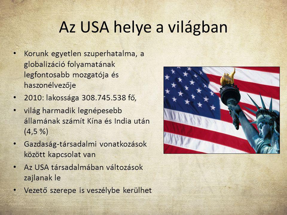 Az USA helye a világban Korunk egyetlen szuperhatalma, a globalizáció folyamatának legfontosabb mozgatója és haszonélvezője.