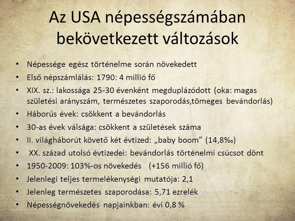 Az USA népességszámában bekövetkezett változások