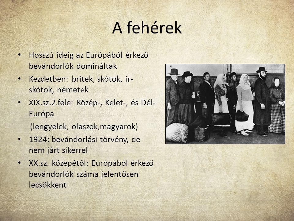 A fehérek Hosszú ideig az Európából érkező bevándorlók domináltak