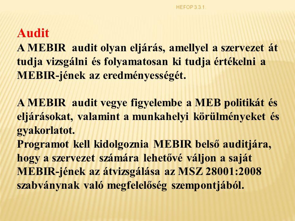 Audit A MEBIR audit olyan eljárás, amellyel a szervezet át