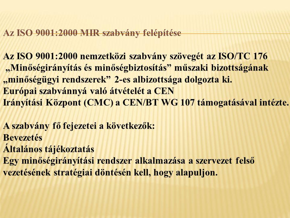 Az ISO 9001:2000 MIR szabvány felépítése