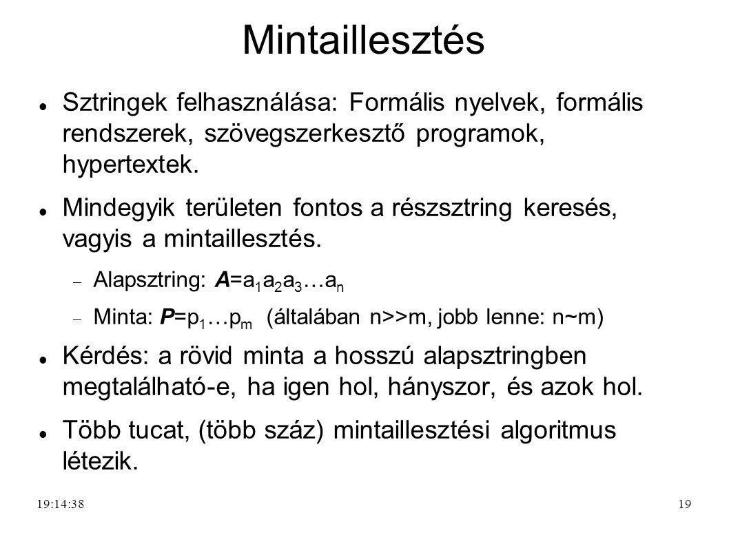 Mintaillesztés Sztringek felhasználása: Formális nyelvek, formális rendszerek, szövegszerkesztő programok, hypertextek.