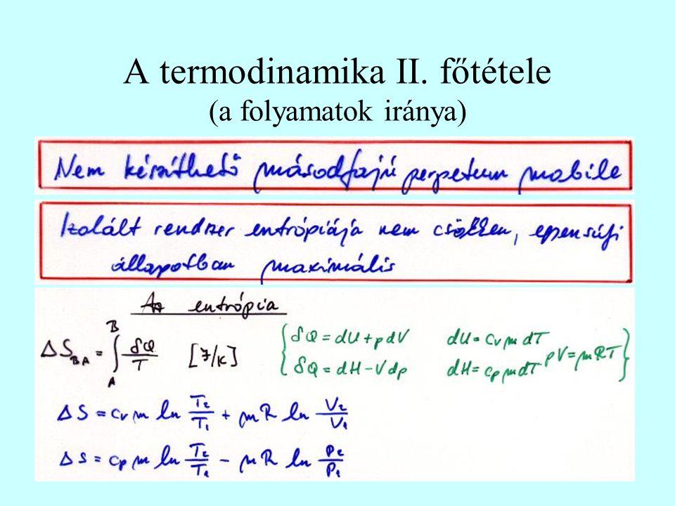 A termodinamika II. főtétele (a folyamatok iránya)