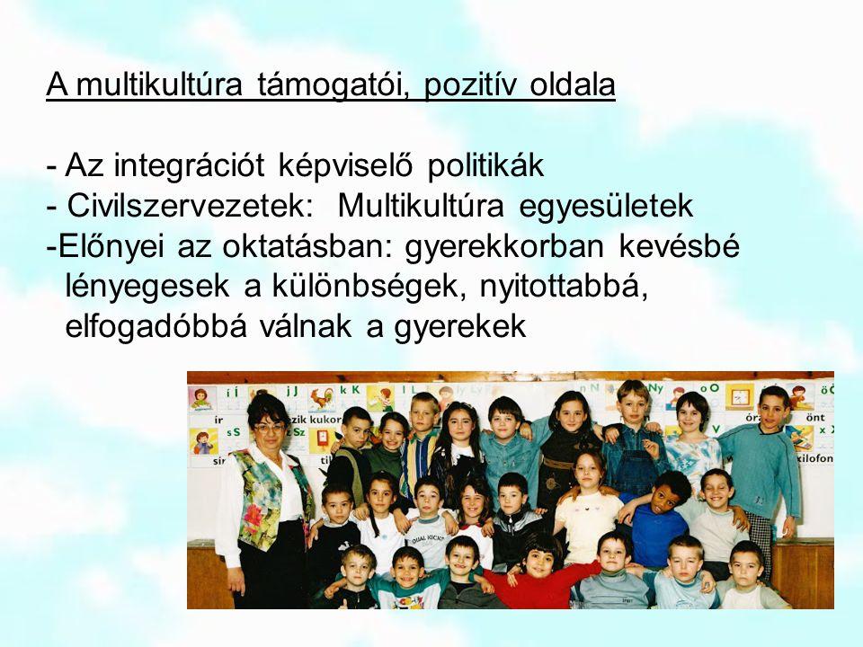 A multikultúra támogatói, pozitív oldala