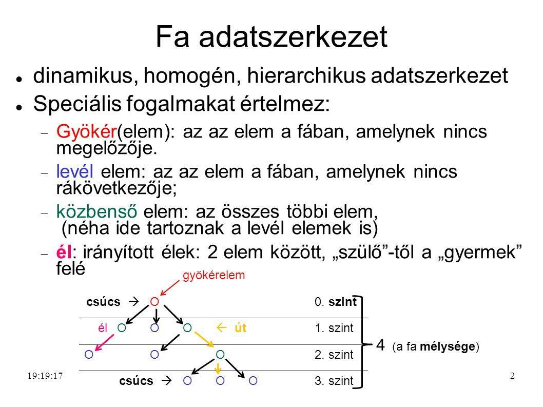 Fa adatszerkezet dinamikus, homogén, hierarchikus adatszerkezet