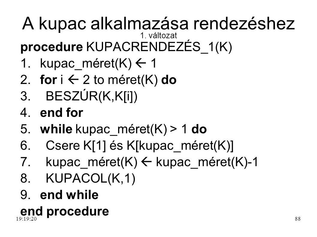 A kupac alkalmazása rendezéshez 1. változat