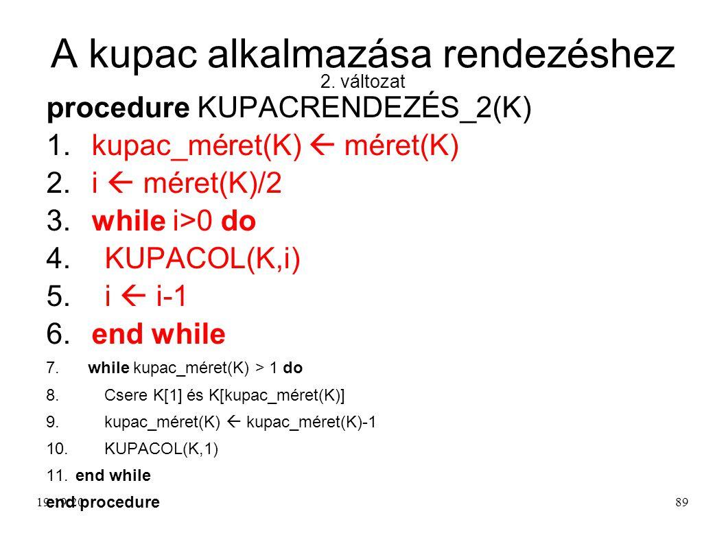 A kupac alkalmazása rendezéshez 2. változat