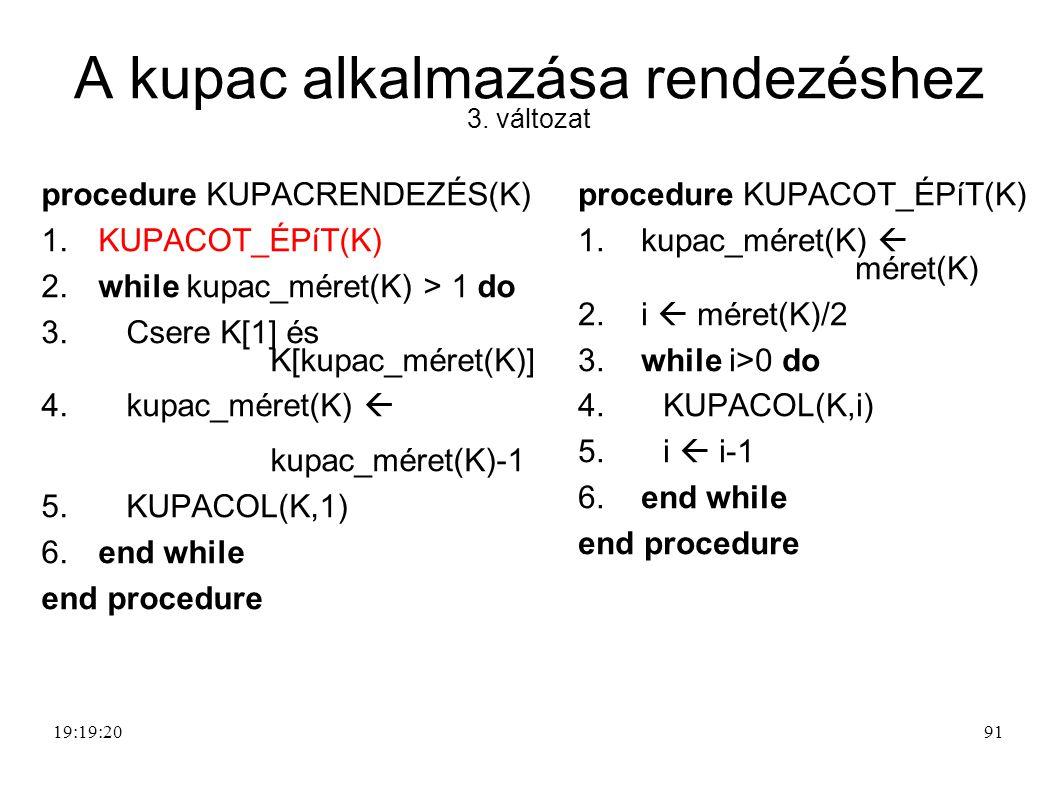 A kupac alkalmazása rendezéshez 3. változat