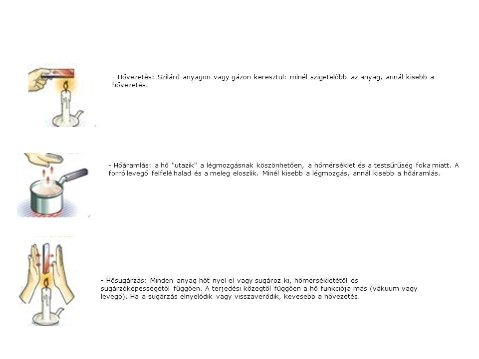 - Hővezetés: Szilárd anyagon vagy gázon keresztül: minél szigetelőbb az anyag, annál kisebb a hővezetés.