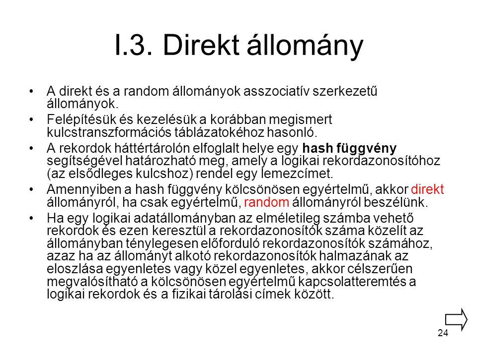 I.3. Direkt állomány A direkt és a random állományok asszociatív szerkezetű állományok.