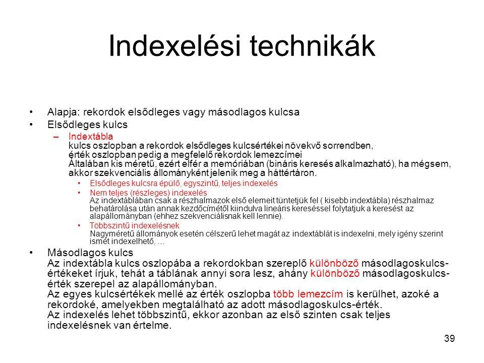 Indexelési technikák Alapja: rekordok elsődleges vagy másodlagos kulcsa. Elsődleges kulcs.