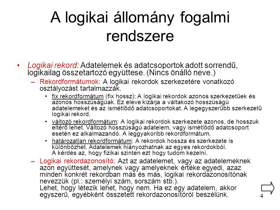A logikai állomány fogalmi rendszere